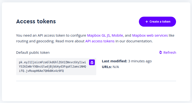 create token with mapbox